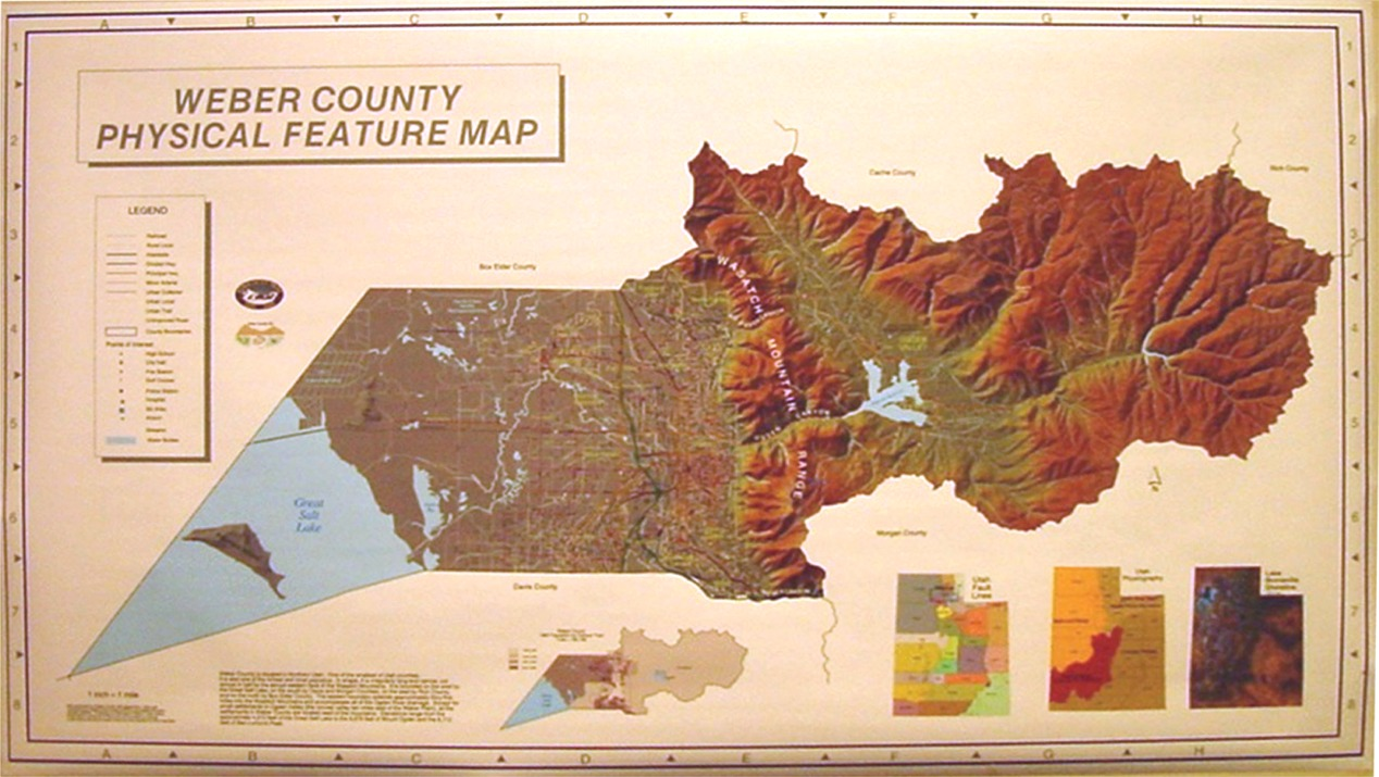 County Physical Feature Map 60 X 36 20 00